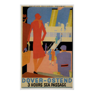 Dover - Ostend Vintage Ship Advertisement Poster