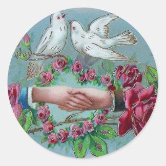 Doves and Handshake Birthday Classic Round Sticker