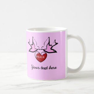 doves and Peace Heart Classic White Coffee Mug