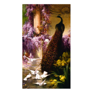 Doves and Peacocks in a Garden Business Card