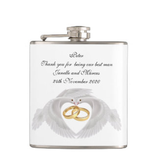 Doves and Rings Groomsman/Best Mans  Flask