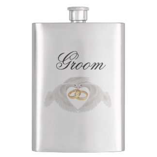 Doves and Rings Wedding Flask