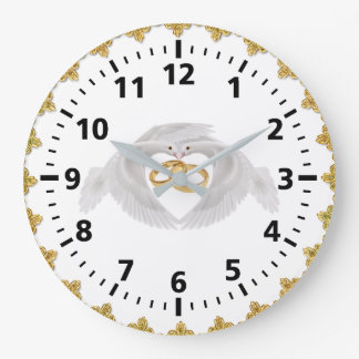 Doves and Rings Wedding Wall Clock (Round Large)