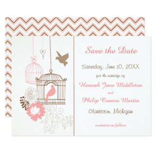 """Doves & Cages - Save the Date 5"""" X 7"""" Invitation Card"""
