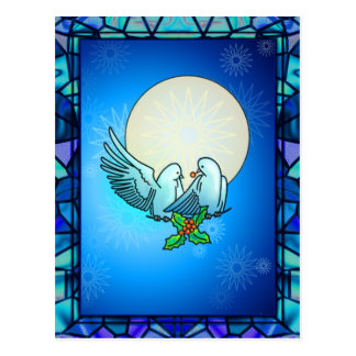 DOVES & HOLLY by SHARON SHARPE Postcard