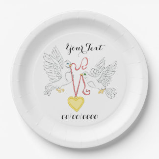 Doves Of Love 9 Inch Paper Plate