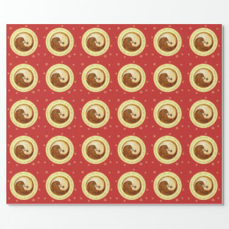 Doves Peace & Harmony wrapping paper on red