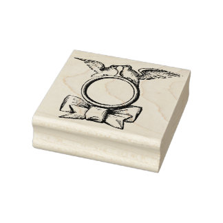 Doves Wedding Ring & Bow Vintage Rubber Art Stamp
