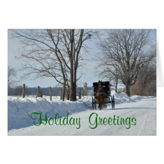 Down a snowy country lane on Christmas Card