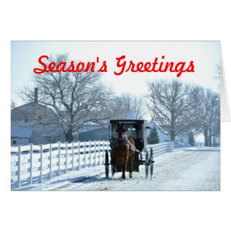 Down a Snowy Lane in Amish Country Card