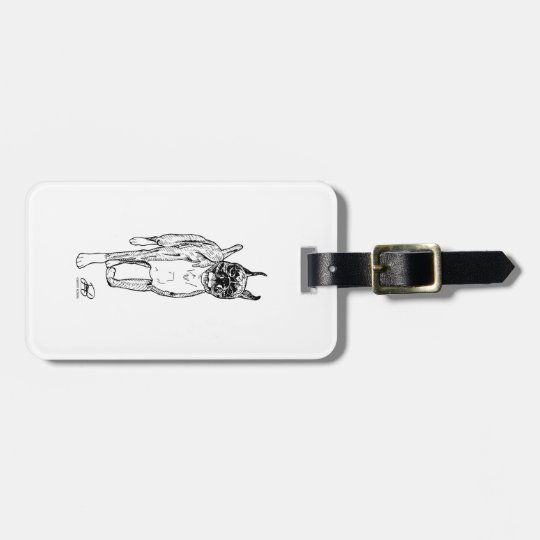 """Down and Back"" Boxer Art Luggage Tags"