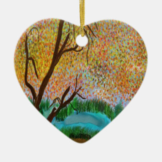 down by the pond ceramic heart ornament