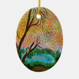 down by the pond ceramic oval ornament