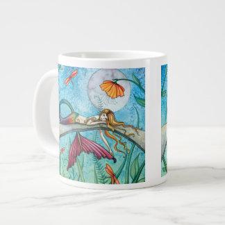 Down by the Pond Mermaid Dragonfly Art Large Coffee Mug