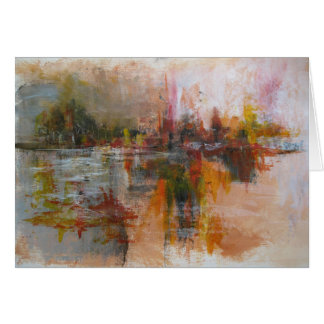 Down by the river - abstract cityscape card