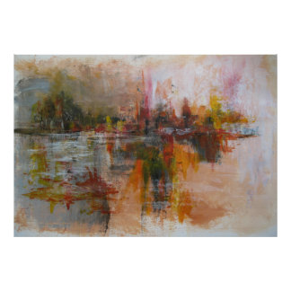 Down by the river - abstract cityscape poster