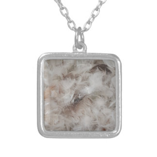 Down Comforter Feathers Photography Funny Silver Plated Necklace