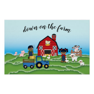 Down on the Farm African American Farmers Poster