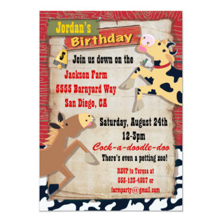 Down on the Farm Birthday Party Invitations