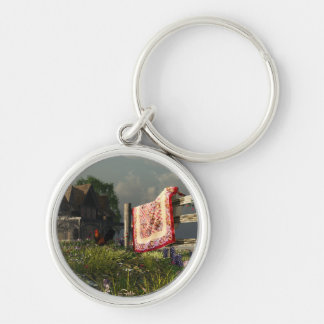 Down on the Farm Silver-Colored Round Keychain