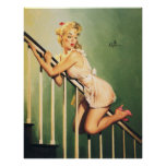 Down the Stairs - Retro Pin-up Girl Poster