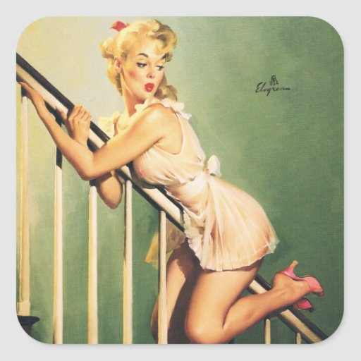 Down the Stairs - Retro Pin-up Girl Sticker