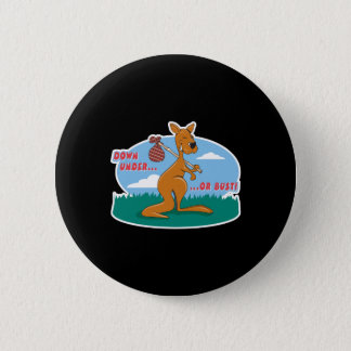 down under or bust kangaroo 2 inch round button