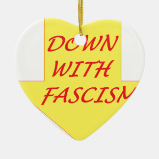 Down with Fascism Ceramic Heart Ornament
