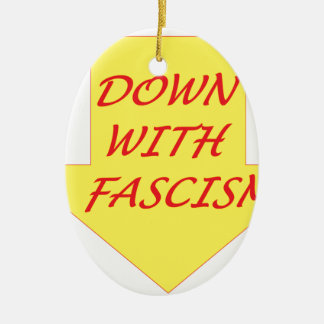 Down with Fascism Ceramic Oval Ornament