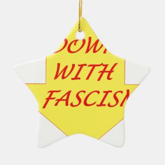 Down with Fascism Ceramic Star Ornament