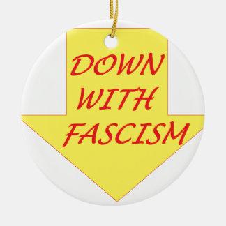Down with Fascism Round Ceramic Ornament
