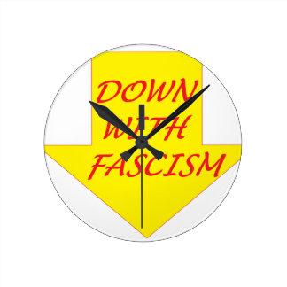 Down with Fascism Round Clock