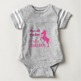 down with mondays up with unicorns baby bodysuit