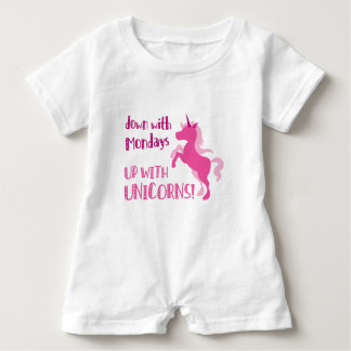 down with mondays up with unicorns baby romper