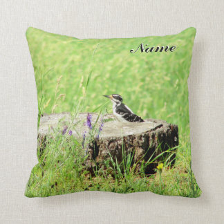 Downey Woodpecker on a Stump Your Name Throw Pillow