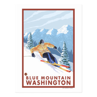 Downhhill Snow Skier - Blue Mountain, Post Card