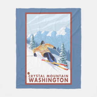 Downhhill Snow Skier - Crystal Mountain, WA Fleece Blanket