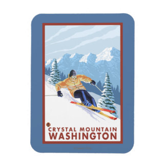 Downhhill Snow Skier - Crystal Mountain, WA Magnet