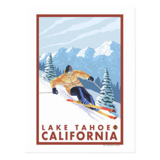 Downhhill Snow Skier - Lake Tahoe, California Postcard