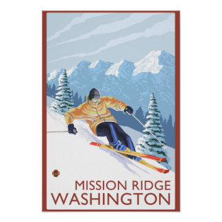 Downhhill Snow Skier - Mission Ridge, Washington Poster