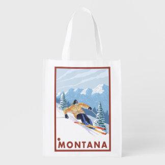 Downhhill Snow Skier - Montana Grocery Bags
