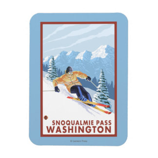 Downhhill Snow Skier - Snoqualmie Pass, WA Rectangular Photo Magnet