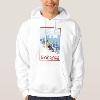 Downhhill Snow Skier - Stevens Pass, Washington Hoodie