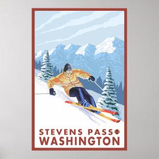 Downhhill Snow Skier - Stevens Pass, Washington Poster