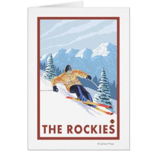 Downhhill Snow Skier - The Rockies Card