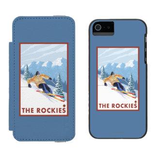 Downhhill Snow Skier - The Rockies Incipio Watson™ iPhone 5 Wallet Case