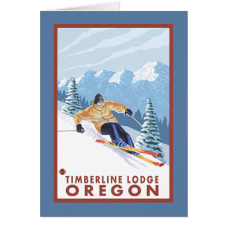 Downhhill Snow Skier - Timberline Lodge, Oregon Card