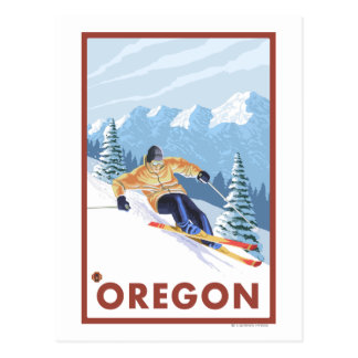 Downhhill Snow Skier- Vintage Travel Poster 2 Postcard