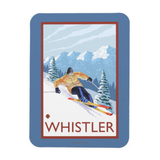 Downhhill Snow Skier - Whistler, BC Canada Magnet