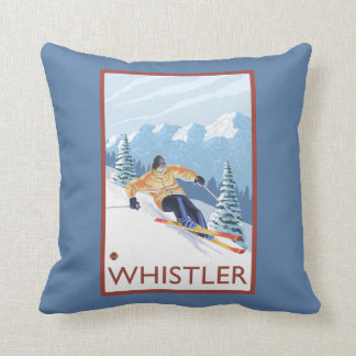 Downhhill Snow Skier - Whistler, BC Canada Throw Pillow